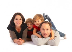 mormon family of four on floor