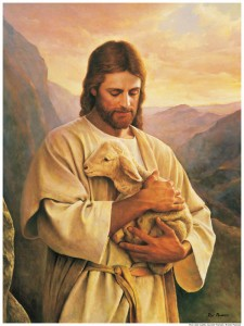 Jesus Christ holding a lamb.