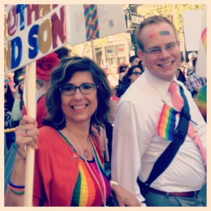 Diane Oviatt marches in Pride Parade to support LGBT youth.