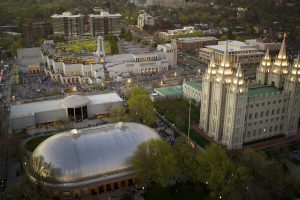 An aerial view of the Temple Square