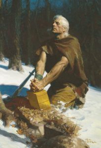 Moroni Hides the Plates in the Hill Cumorah (Moroni Burying the Plates) by Tom Lovell via lds.org © intellectual reserve